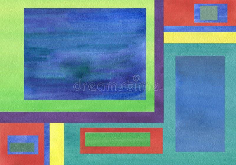 Fundo da aquarela combinado com os quadrados uniformes do tom ilustração stock