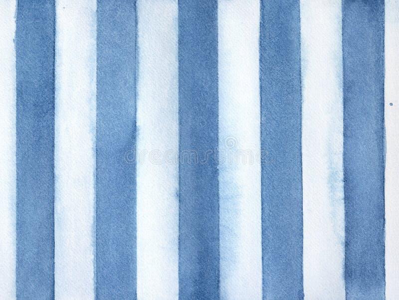 Fundo da aquarela das listras verticais do azul marinho e as brancas ilustração do vetor
