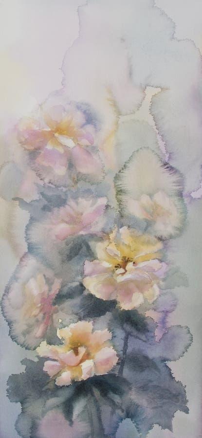 Fundo da aquarela das rosas brancas ilustração stock
