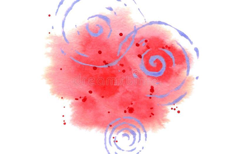 Fundo da aquarela para o cart?o, cartaz, c?pia O ponto vermelho abstrato com espirra e espirala isolado no branco ilustração stock