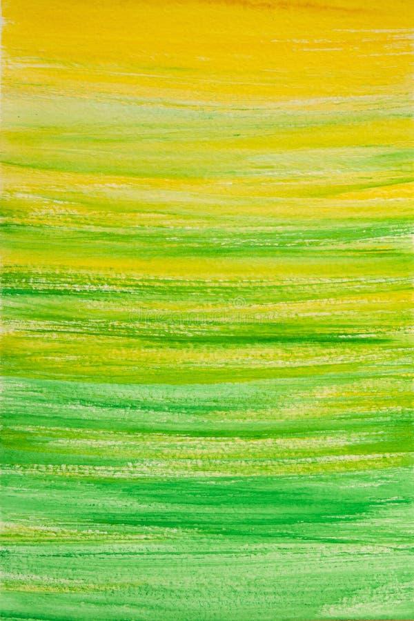 Fundo da aquarela, verde da textura da pintura com amarelo imagem de stock royalty free