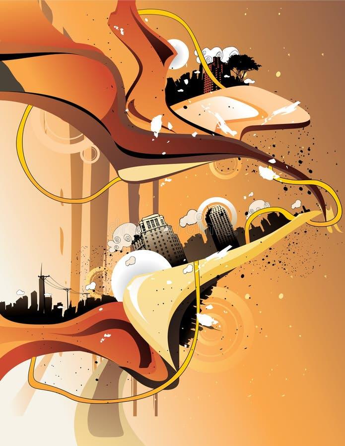 Fundo da arquitectura da cidade, arte urbana ilustração royalty free