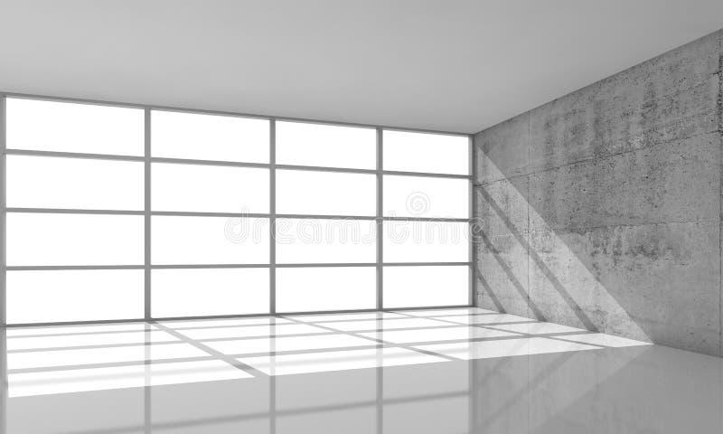 fundo da arquitetura 3d, interior vazio com luz solar ilustração do vetor
