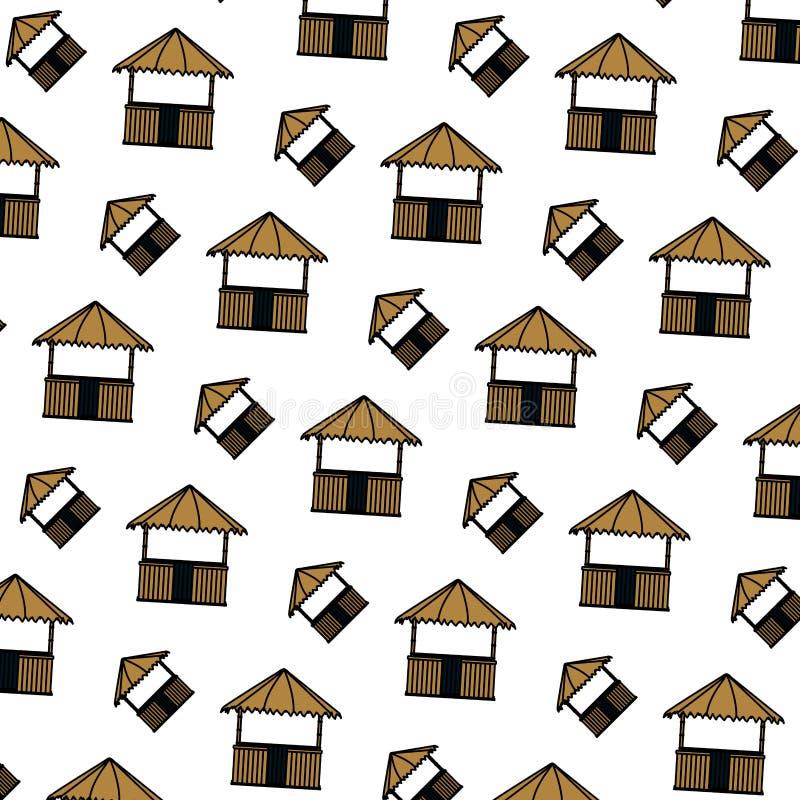 Fundo da arquitetura da natureza da cabana da palha da cor ilustração royalty free