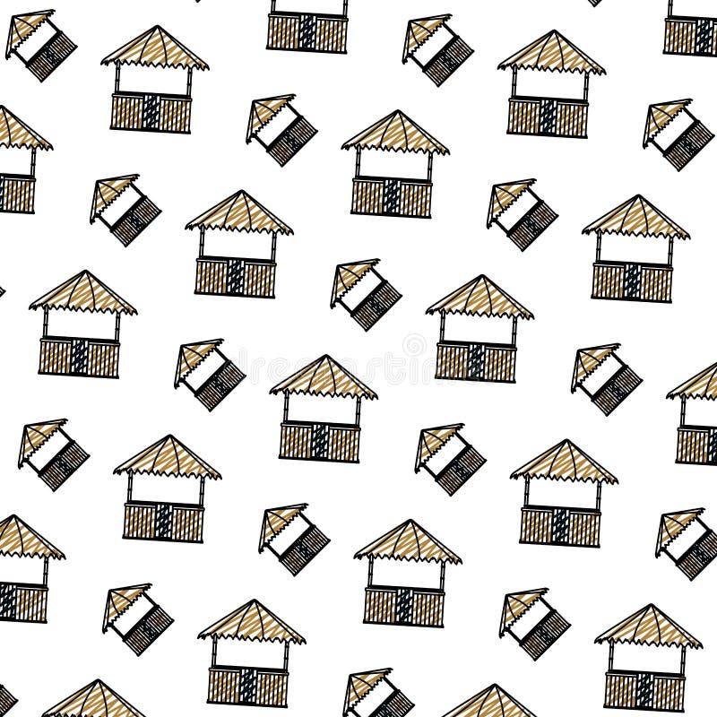 Fundo da arquitetura da natureza da cabana da palha da garatuja ilustração do vetor