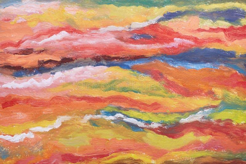 Fundo da arte abstrata Textura alaranjada, amarela, vermelha, azul Pinceladas da pintura Imagem pintado à mão Arte contemporânea ilustração do vetor