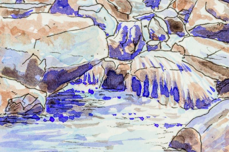 Fundo da arte da água que flui sobre rochas em um córrego ilustração stock