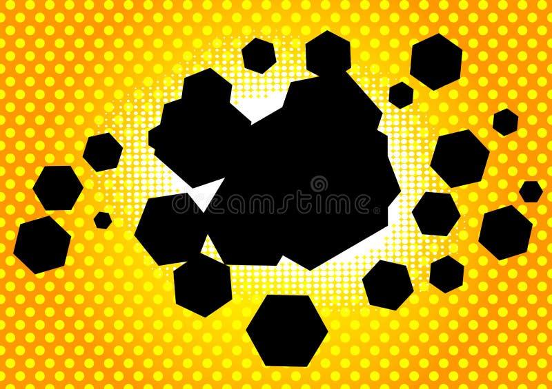 Fundo da banda desenhada com bolha dada forma hexágono ilustração do vetor