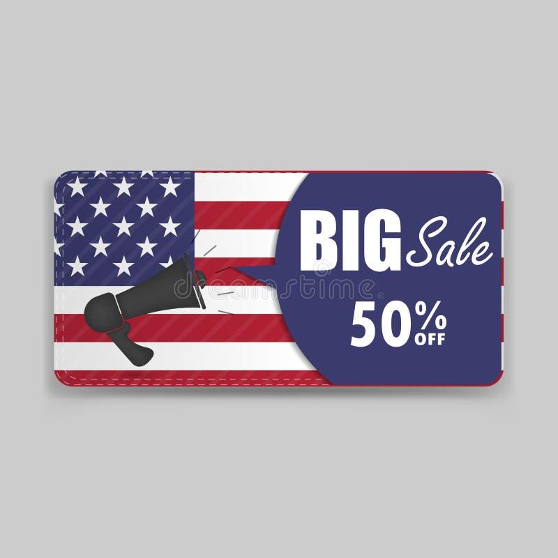 Fundo da bandeira americana de comprovante de presente ou temp do vale do certificado ilustração royalty free