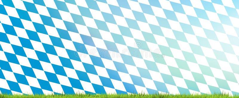 Fundo da bandeira de Baviera com rendição da grama verde 3d ilustração do vetor