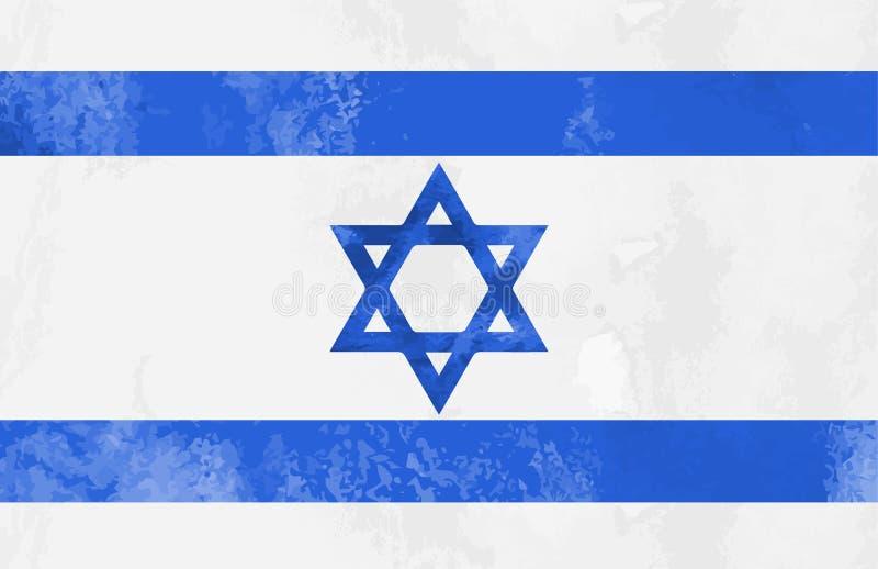 Fundo da bandeira de Israel da aquarela Ilustração Eps 10 do vetor ilustração stock