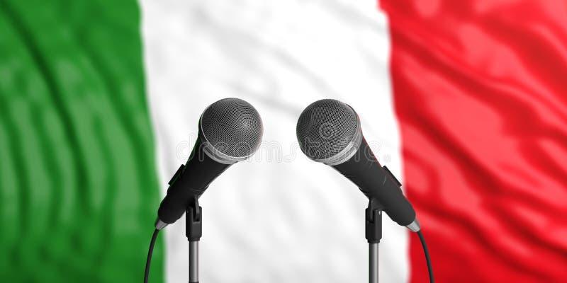 Fundo da bandeira de Itália com os dois microfones na frente dele Feche acima da vista ilustração 3D ilustração royalty free