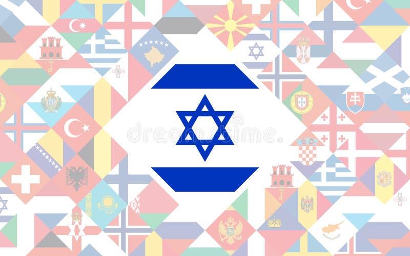 Fundo da bandeira de países europeus com a bandeira grande de Israel dentro ilustração do vetor