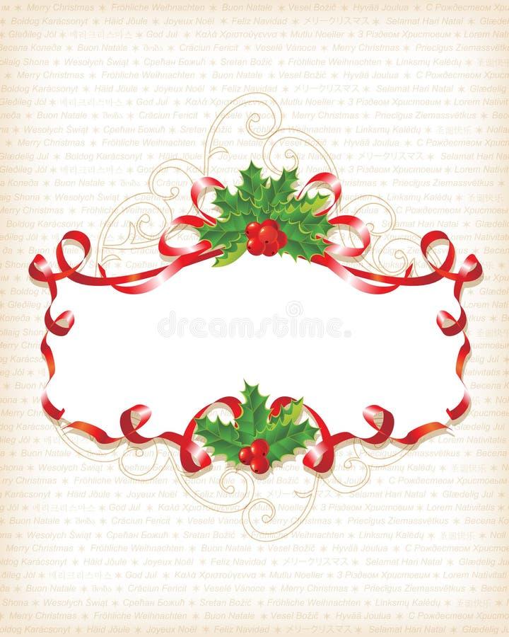 Fundo da bandeira do azevinho do Natal ilustração royalty free