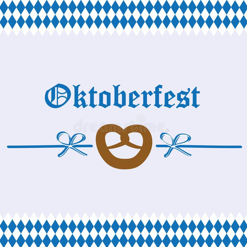 Fundo da bandeira do bavaria do pretzel da celebração de Oktoberfest ilustração royalty free