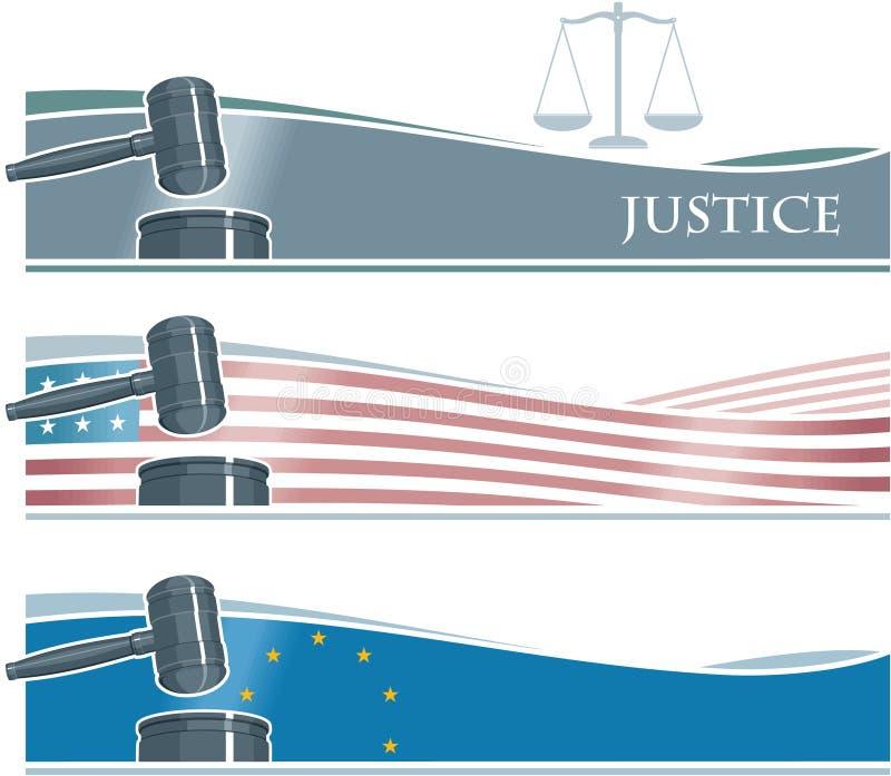 Fundo da bandeira do Gavel do juiz ilustração do vetor