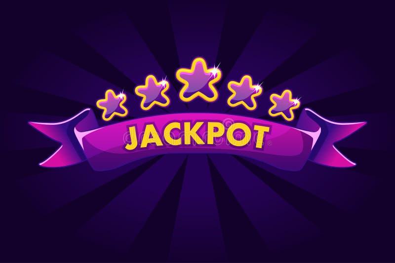 Fundo da bandeira do JACKPOT para a loteria ou o casino, ícones de jogo do entalhe com fita e estrelas ilustração do vetor