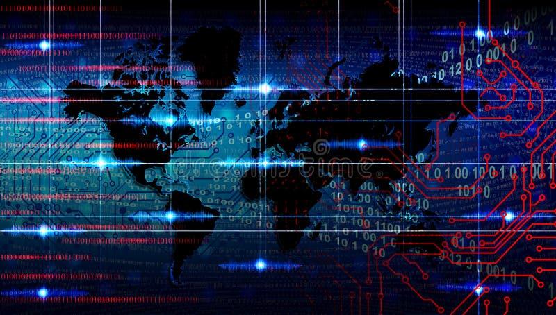Fundo da bandeira do neg?cio da tecnologia do mundo , fundo futurista, conceito do Cyberspace imagem de stock royalty free