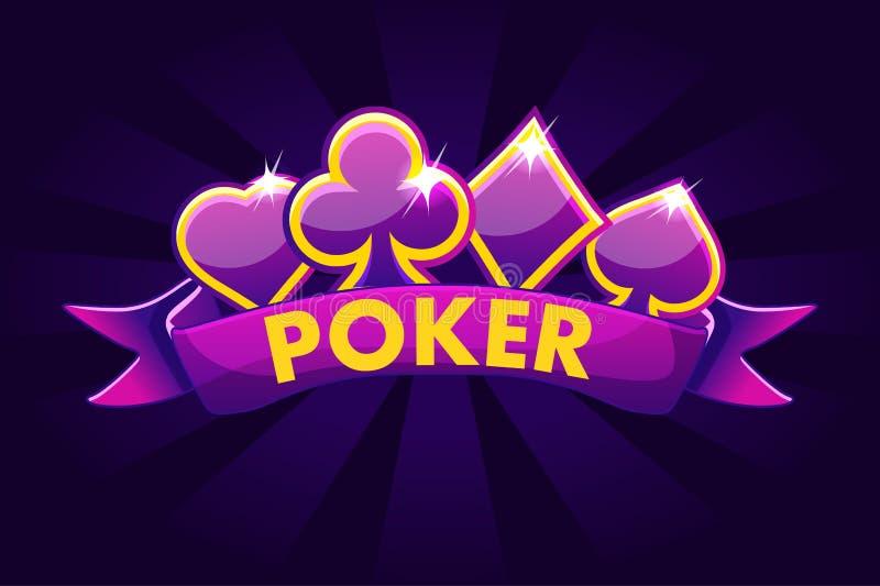 Fundo da bandeira do pôquer para a loteria ou o casino, ícones de jogo do entalhe com fita e sinais do cartão de jogo ilustração royalty free