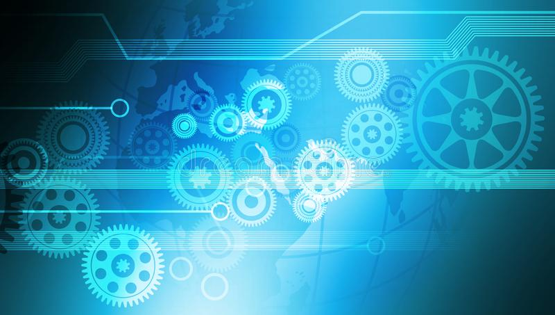 Fundo da bandeira da tecnologia das rodas denteadas dos dados do computador da inovação ilustração stock