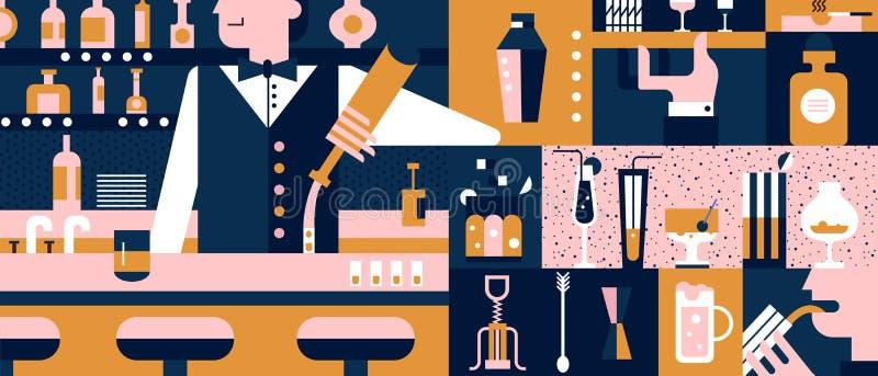 Fundo da barra e do barman liso ilustração stock