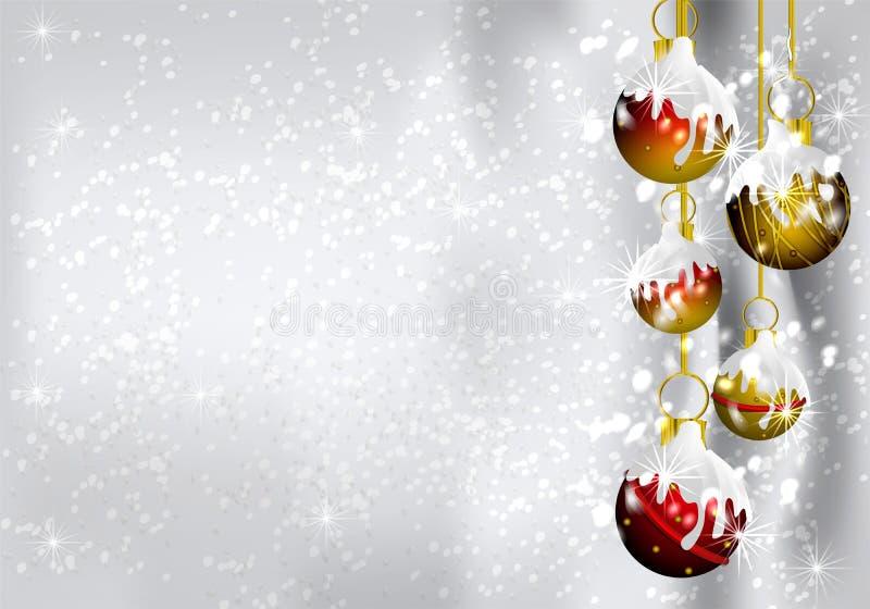 Fundo da beira das decorações do Natal ilustração do vetor