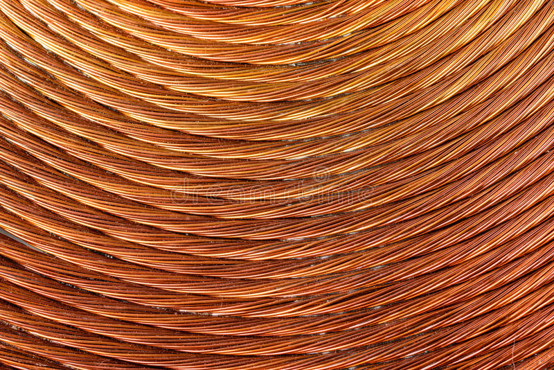 Fundo da bobina de cobre fotografia de stock royalty free