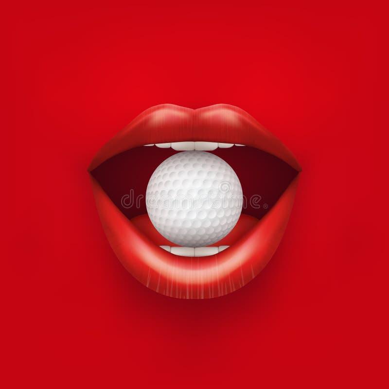 Fundo da boca aberta da mulher com bola de golfe dentro ilustração royalty free