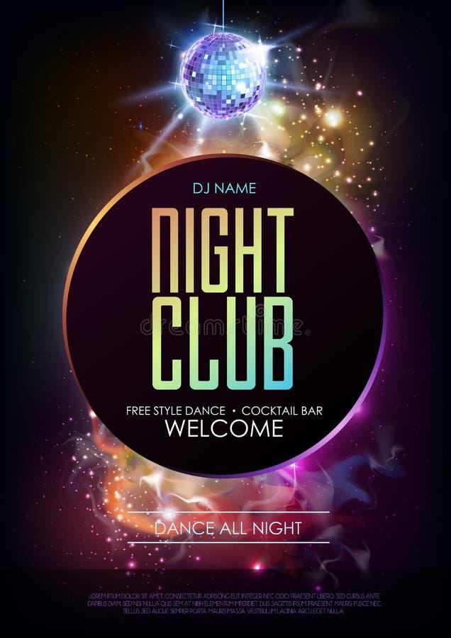 Fundo da bola do disco Cartaz do partido do clube noturno do disco no fundo do espaço aberto ilustração do vetor
