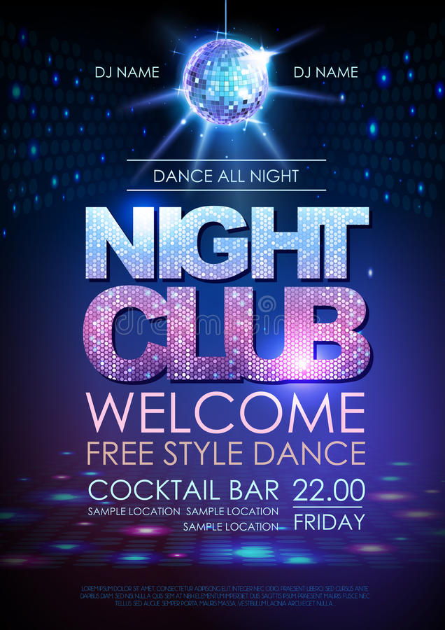 Fundo da bola do disco Clube noturno do cartaz do disco ilustração royalty free