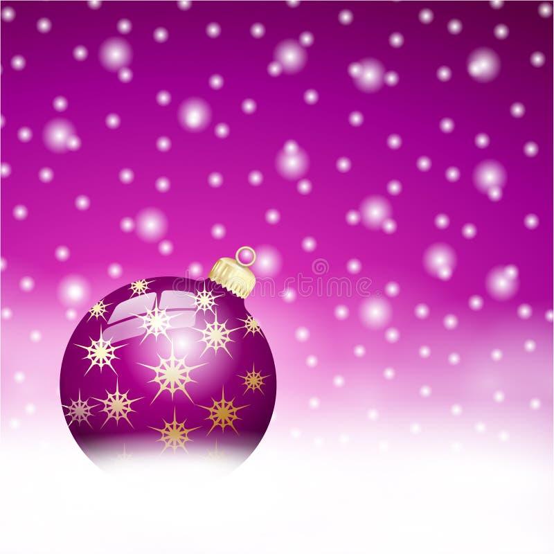 Fundo da bola do Natal de Lila ilustração royalty free