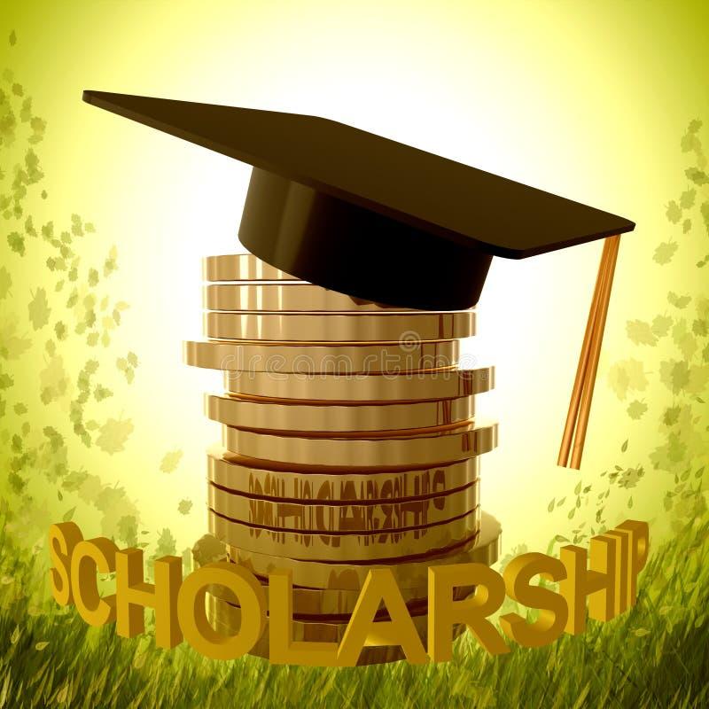 Fundo da bolsa de estudos e símbolo da graduação ilustração royalty free