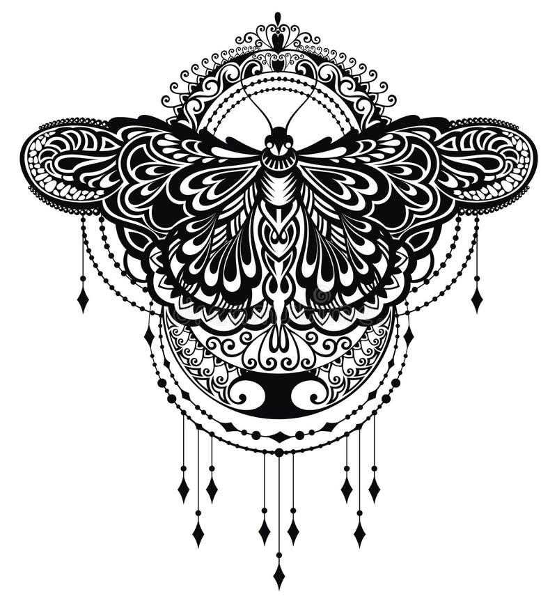 Fundo da borboleta da tatuagem ilustração royalty free