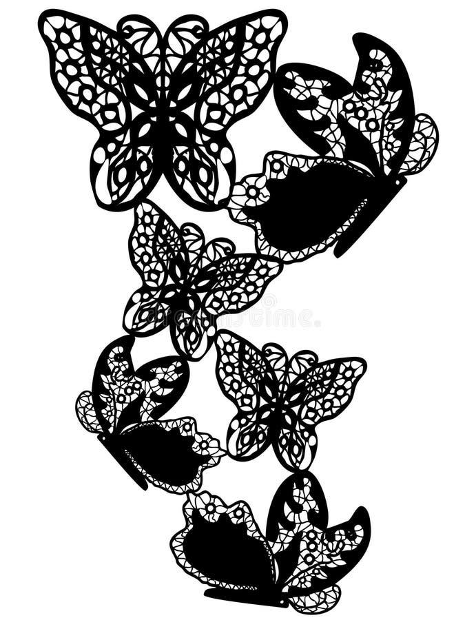 Fundo da borboleta do teste padrão do laço ilustração royalty free