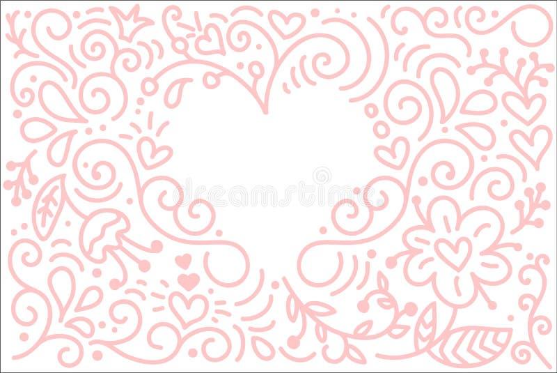Fundo da caligrafia do monoline do vetor para o dia de Valentim feliz Elementos de Valentine Hand Drawn Garatuja do esboço do fer ilustração royalty free