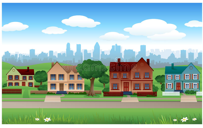 Fundo da casa do subúrbio ilustração stock