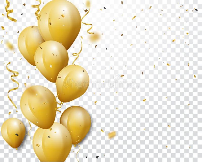Fundo da celebra??o com confetes e bal?es do ouro ilustração royalty free