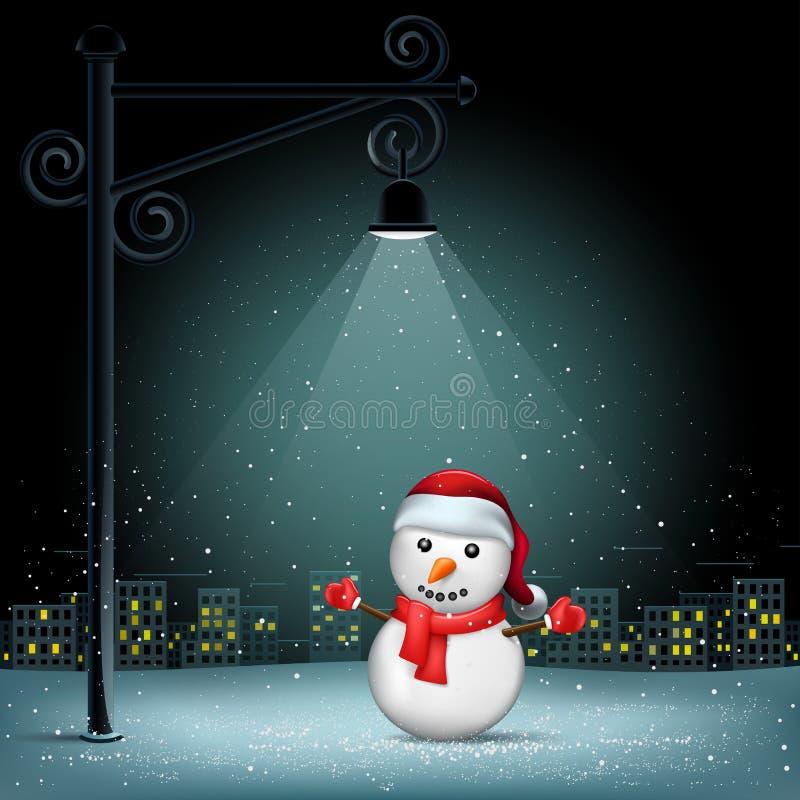 Fundo da cidade da coluna do boneco de neve do Natal ilustração royalty free