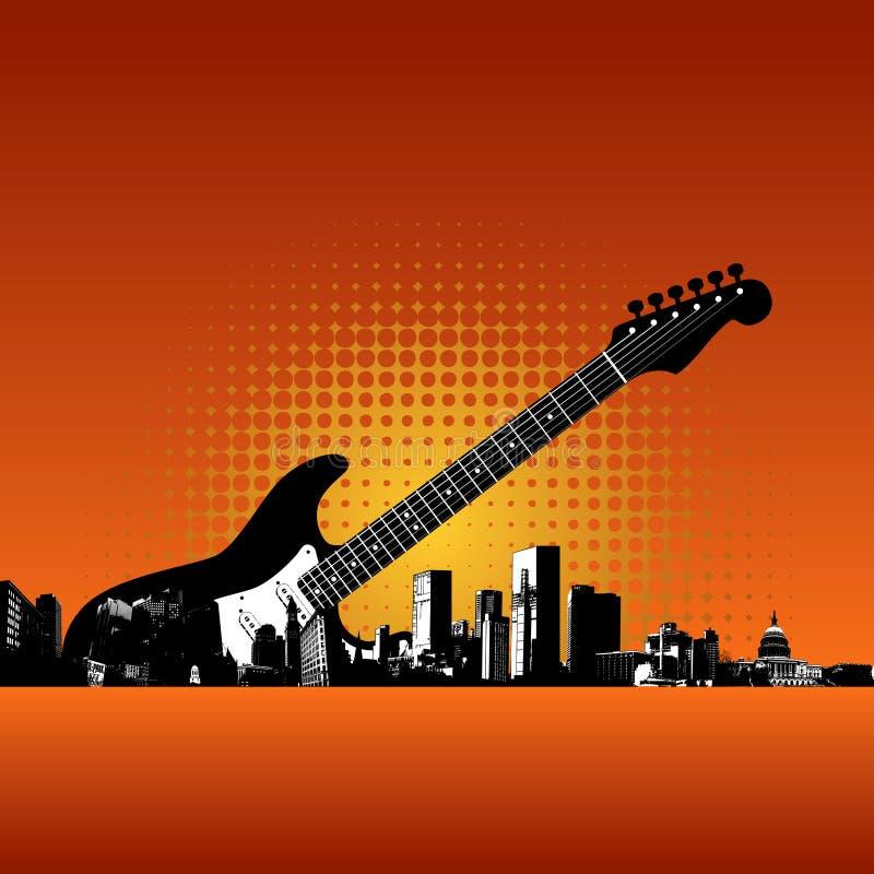 Fundo da cidade da guitarra ilustração stock