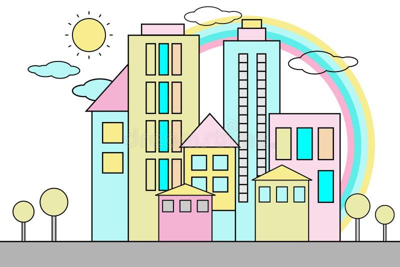 Fundo da cidade dos desenhos animados ilustração royalty free