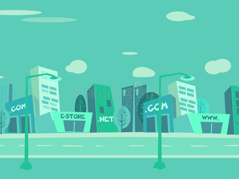 Fundo da cidade dos desenhos animados imagem de stock