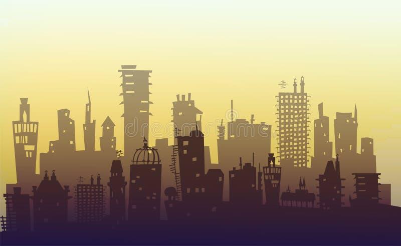 Fundo da cidade feito de muitas silhuetas da construção ilustração stock