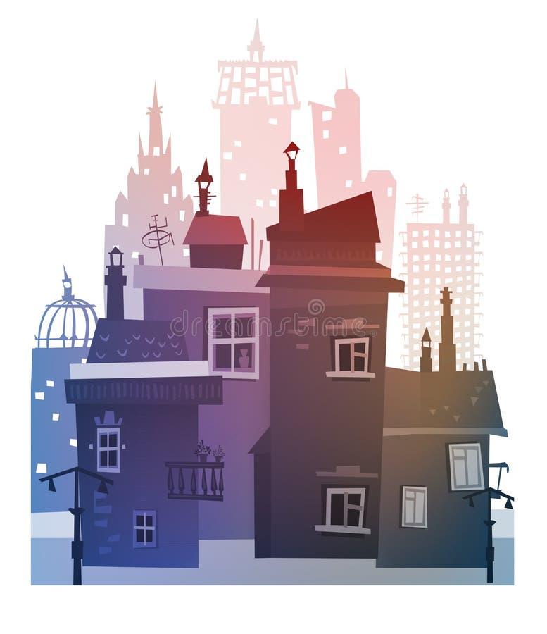 Fundo da cidade feito de muitas silhuetas da construção ilustração do vetor