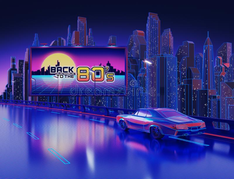 Fundo da cidade da noite com 'de volta à bandeira 80Â's' fotografia de stock royalty free