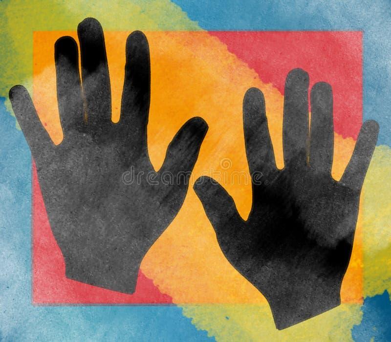 Fundo da colagem das mãos ilustração do vetor