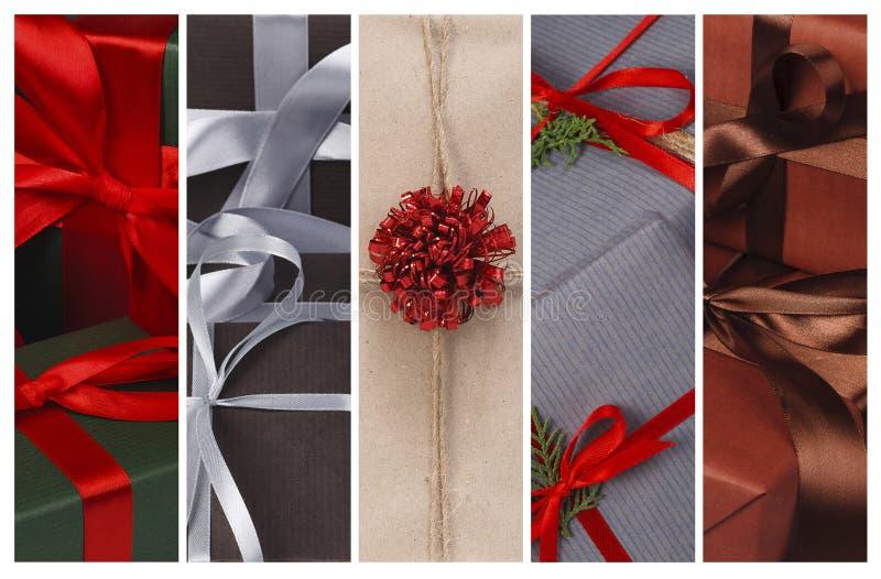 Fundo da colagem dos presentes do Natal e das caixas do presente fotografia de stock