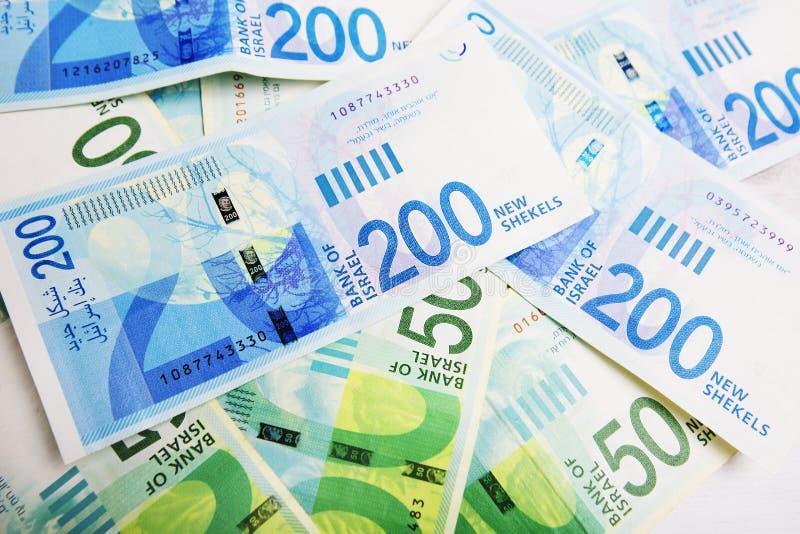 Fundo da coleção de contas do dinheiro do shekel de Israely imagem de stock royalty free