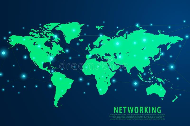 Fundo da conexão de rede global, mapa do mundo verde, vetor ilustração royalty free