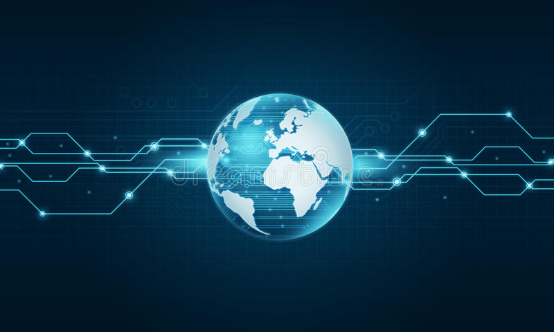 Fundo da conexão a Internet da tecnologia do mundo fotos de stock royalty free