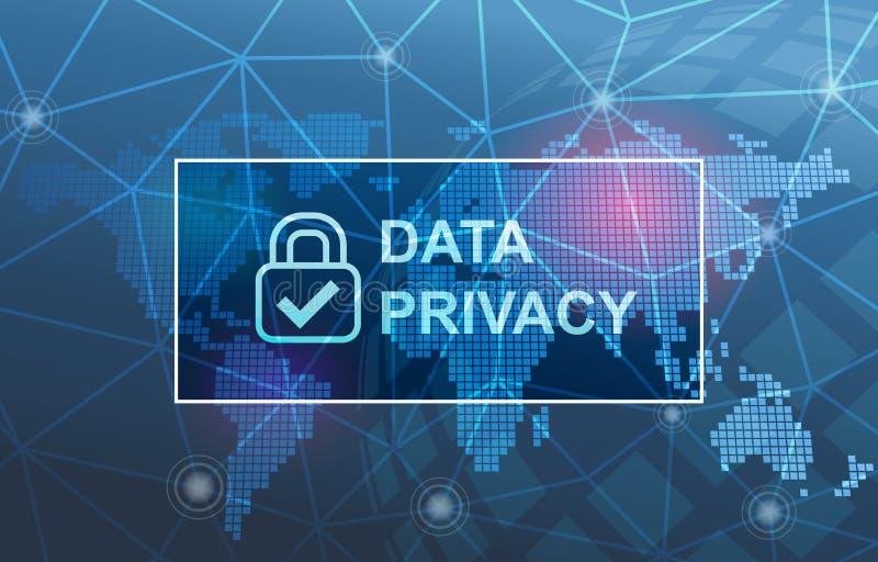 Fundo da conformidade da proteção de privacidade dos dados ilustração royalty free